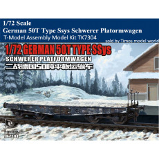 T-Model TK7304 1/72 Scale German 50T Type Ssys Schwerer Platformwagen Assembly Model Kit