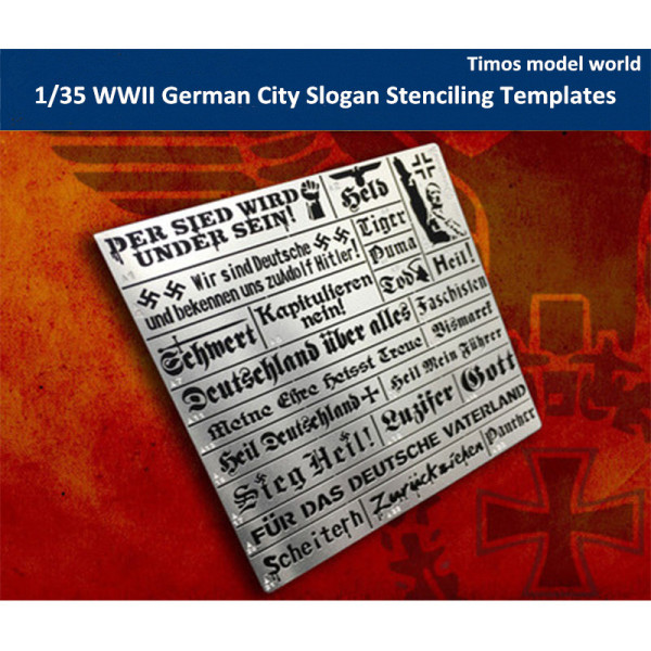 1/35 Scale WWII German City Slogan General Use Stenciling Templates AJ0033
