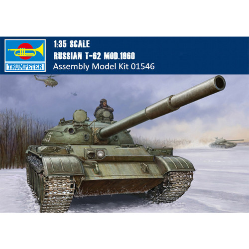 Trumpeter 01546 1/35 Scale Russian T-62 Mod.1960 Tank Armor Plastic Assembly Model Kits