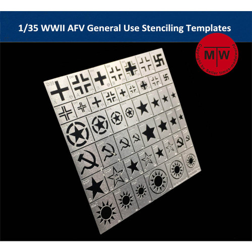 1/35 Scale WWII AFV General Use Stenciling Templates AJ0024