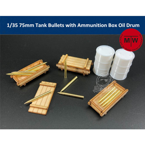 1/35 Scale 75mm Tank Bullets Metal Model with Ammunition Box Oil Drum TMW00023