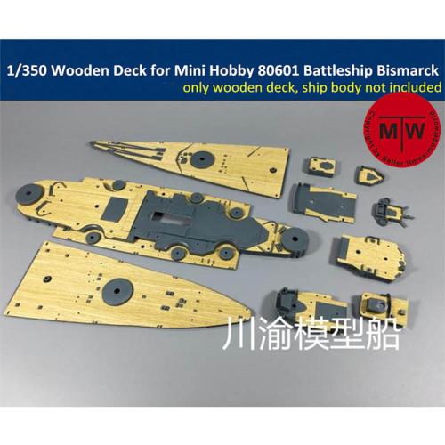 1/350 Scale Wooden Deck for Mini Hobby 80601 German Battleship Bismarck Model TMW00024