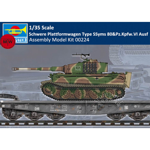 Trumpeter 00224 1/35 Scale Schwere Plattformwagen Type SSyms 80&Pz.Kpfw.VI Ausf Plastic Assembly Model Kits