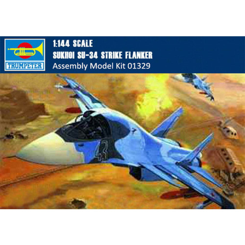Trumpeter 01329 1/144 Scale SUKHOI SU-34 Strike Flanker Fighter-Bomber Military Plastic Aircraft Assembly Model Kits