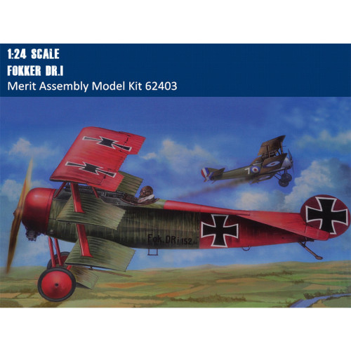 Merit 62403 1/24 Scale Fokker Dr.1 Fighter Plastic Military Assembly Aircraft Model Kits