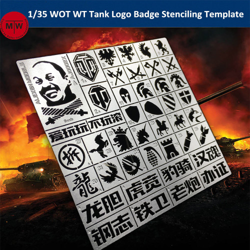 1/35 Scale WOT WT Tank Logo Badge Stenciling Template Model Building Tools AJ0002