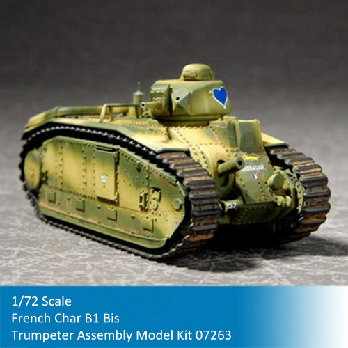Trumpeter 07263 1/72 Scale French Char B1 Bis Heavy Tank Military Plastic Assembly Model Kits