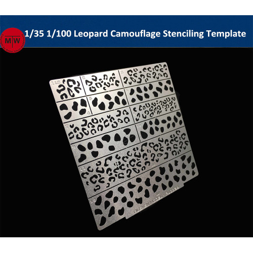 1/35 1/100 Scale Leopard Camouflage Stenciling Template Leakage Spray Plate Tool for Gundam Military Model AJ0034