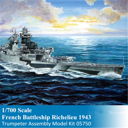 Trumpeter 05750 1/700 Scale French Battleship Richelieu 1943 Military Plastic Assembly Model Kits