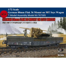T-Model TK7305 1/72 Scale WWII German 88mm Flak 36 Mount on 50T Type Ssys Wagon Military Plastic Assembly Model Kits