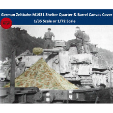 T-Model 1/35 1/72 Scale WWII German Zeltbahn M1931 Shelter Quarter & Barrel Canvas Cover Resin Model Kits