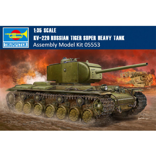 Trumpeter 05553 1/35 Scale KV-220 Russian Tiger Super Heavy Tank Military Plastic Assembly Model Building Kit