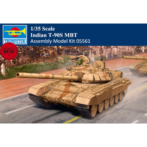 Trumpeter 05561 1/35 Scale Indian T-90S MBT Military Plastic Tank Assembly Model Kits
