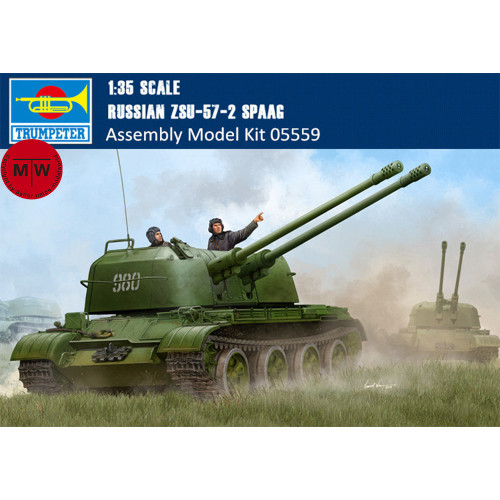 Trumpeter 05559 1/35 Scale Russian ZSU-57-2 SPAAG Military Plastic Assembly Model Kits