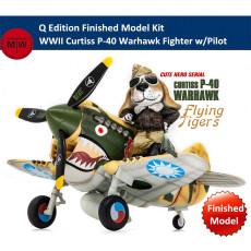 Tiger Model CH001 WWII Curtiss P-40 Warhawk Fighter w/Pilot Q Edition Plastic Finished Model Kits