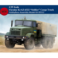 HobbyBoss 85512 1/35 Scale Ukraine KrAZ-6322 Soldier Cargo Truck Military Plastic Assembly Model Kits