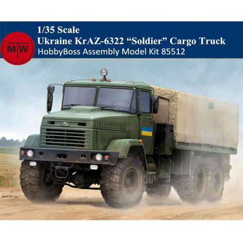 HobbyBoss 85512 1/35 Scale Ukraine KrAZ-6322 Soldier Cargo Truck Military Plastic Assembly Model Kits