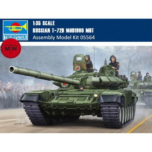 Trumpeter 05564 1/35 Scale Russian T-72B Mod1990 MBT Military Plastic Tank Assembly Model Kits