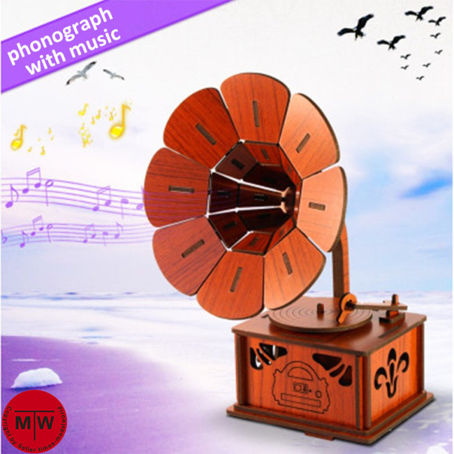 Phonograph Gramophone Wooden 3D Jigsaw Puzzle with Music Assembly Model DIY Christmas Brithday Gift