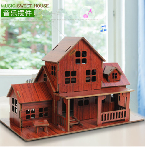Wooden 3D Jigsaw Puzzle Sweet House with Music Assembly Model DIY Christmas Brithday Gift CYH018