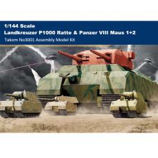 Takom 3001 1/144 Scale Landkreuzer P1000 Ratte Proto Type &Panzer VIII Maus 1+2 Plastic Assembly Model Kits