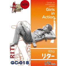 ZLPLA Genuine 1/24 Scale Rita Girls in Action Resin Figure Assembly Model Unpainted Kits GC-018