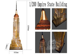 1/200 Scale Empire State Building 220cm Wooden Assembly Model Kit 220V US Plug with Light