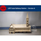 1/87 Scale Railway Station Platform Bridge Diorama Scene DIY Wooden Assembly Model Kits