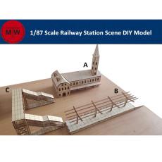 1/87 Scale Railway Station Platform Bridge Diorama Scene DIY Wooden Assembly Model Kits