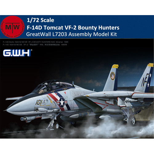 GreatWall L7203 1/72 Scale F-14D Tomcat VF-2 Bounty Hunters Aircraft Assembly Model Kit