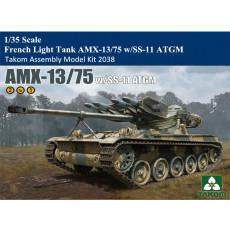 Takom 2038 1/35 Scale French Light Tank AMX-13/75 w/SS-11 ATGM Military Plastic Assembly Model Kits