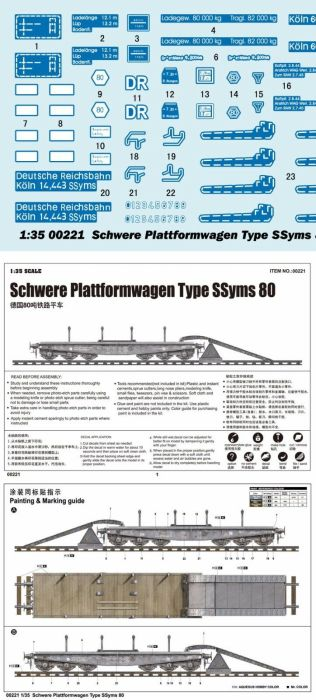 Trumpeter 00221 1/35 Scale German Schwere Plattformwagen Type SSyms 80 Military Plastic Assembly Model Kits