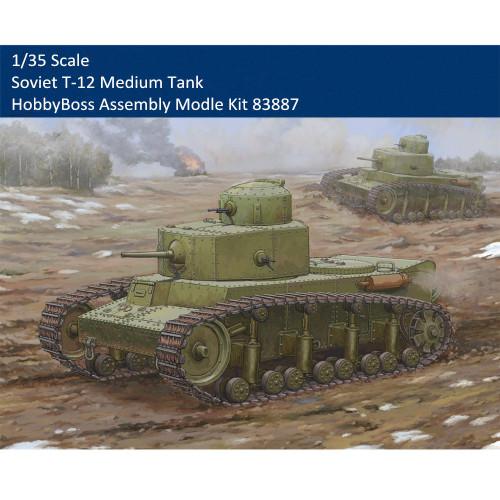 HobbyBoss 83887 1/35 Scale Soviet T-12 Medium Tank Plastic Military Assembly Model Building Kits