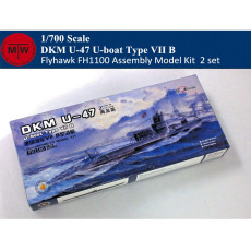 Flyhawk FH1100 1/700 Scale German Submarine U-47 U-Boat Type VIII B Plastic Assembly Model Kits (2pcs/set)