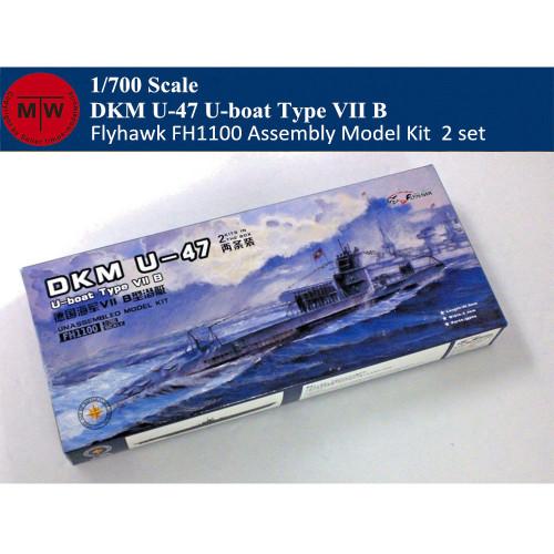 Flyhawk FH1100 1/700 Scale German Submarine U-47 U-Boat Type VIII B Plastic Assembly Model Kits (2pcs/set)