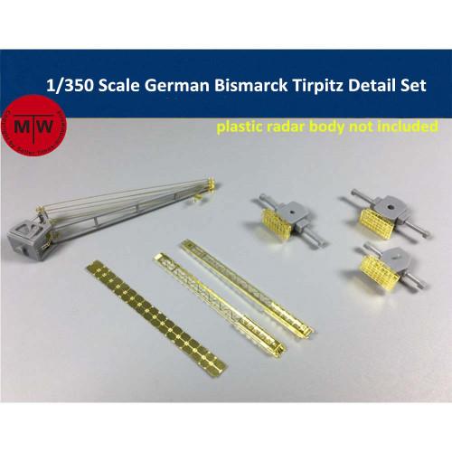 1/350 Scale Bismarck Tirpitz PE Detail Set Radar Crane Catapult for Tamiya 78013 78015 MiniHobby 80601 80602 Model CYPE001