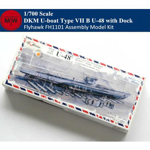 Flyhawk FH1101 1/700 Scale DKM U-boat Type VII B U-48 with Dock Plastic Assembly Model Kits