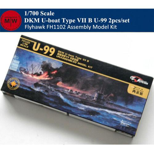 Flyhawk FH1102 1/700 Scale DKM U-boat Type VII B U-99 Plastic Submarine Assembly Model Kits 2pcs/set