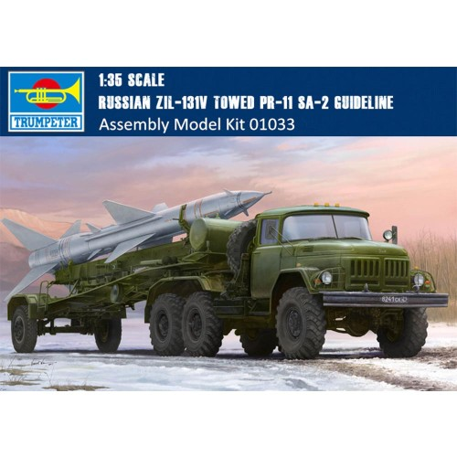 Trumpeter 01033 1/35 Scale Russian Zil-131V towed PR-11 SA-2 Guideline Military Plastic Assembly Model Kits