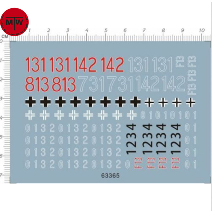 1/35 Scale WWII German Tank Model Number Decals 63365
