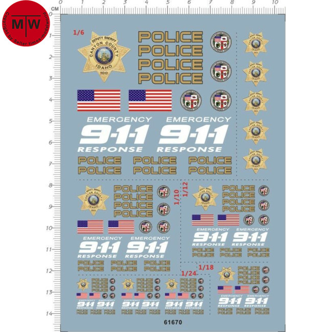 1/6 1/10 1/12 1/18 1/24 Scale 911 US Police Decal for Motor Motorcycle Model 61670