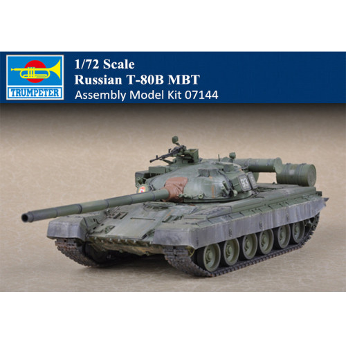 Trumpeter 07144 1/72 Scale Russian T-80B MBT Plastic Armor Assembly Tank Model Kits