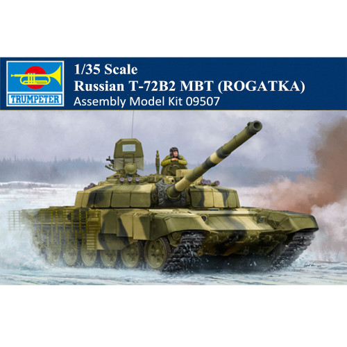 Trumpeter 09507 1/35 Scale Russian T-72B2 MBT (ROGATKA) Military Plastic Tank Assembly Model Kits