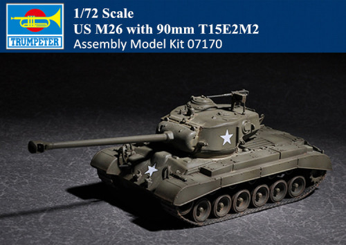 Trumpeter 07170 1/72 Scale US M26 with 90mm T15E2M2 Military Plastic Tank Assembly Model Kits