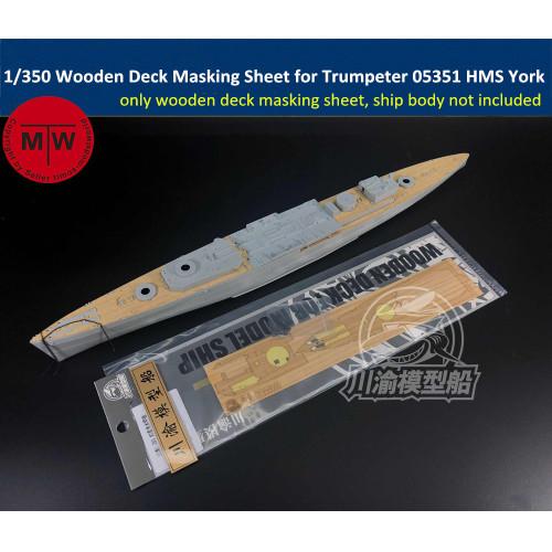 1/350 Scale Wooden Deck Masking Sheet for Trumpeter 05351 HMS York Ship Model Kit