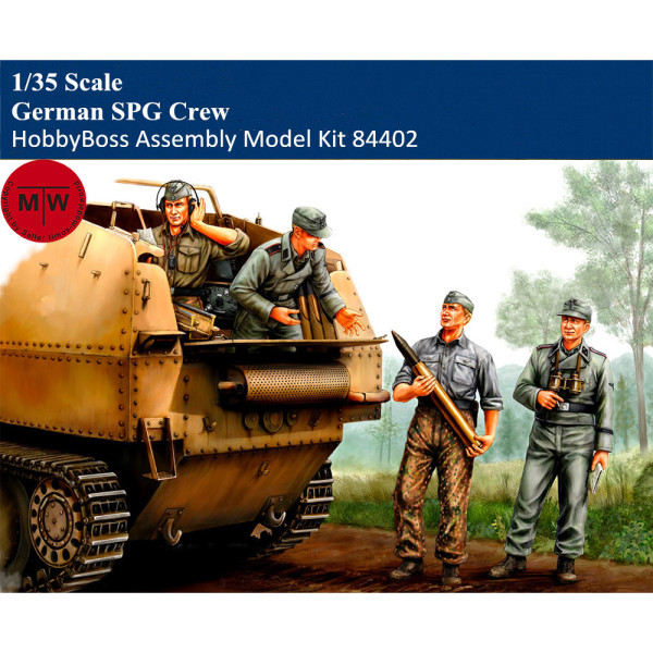HobbyBoss 84402 1/35 Scale German SPG Crew Soldier Figures Military Plastic Assembly Model Kits