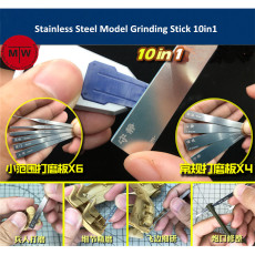 Stainless Steel Model Grinding Stick File Hobby Craft Tools 10in1 AJ0069