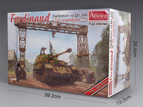 Amusing Hobby 35A030 1/35 Scale Sd.kfz.184 Ferdinand & 16T Strabokran Full Interior Plastic Assembly Model Kits