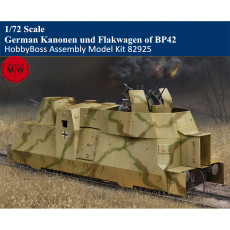 HobbyBoss 82925 1/72 Scale German Kanonen und Flakwagen of BP42 Military Plastic Assembly Model Kits