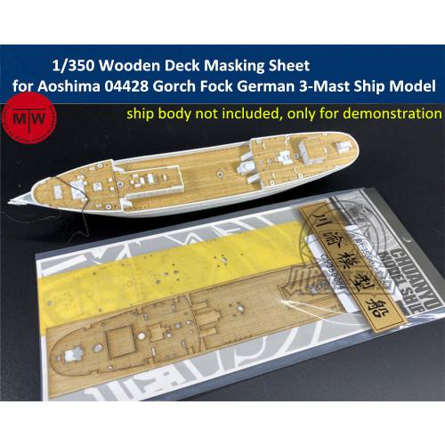1/350 Scale Wooden Deck Masking Sheet for Aoshima 04428 Gorch Fock German 3-Mast Ship Model TMW00058